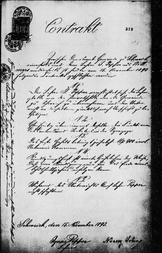 Vertrag der Schweicher Gemeinde mit dem Lehrer Ignaz Popper aus Willmar vom 15.11.1893. Landeshauptarchiv Koblenz, Bestand 442, Nr. 13443, S. 319f.