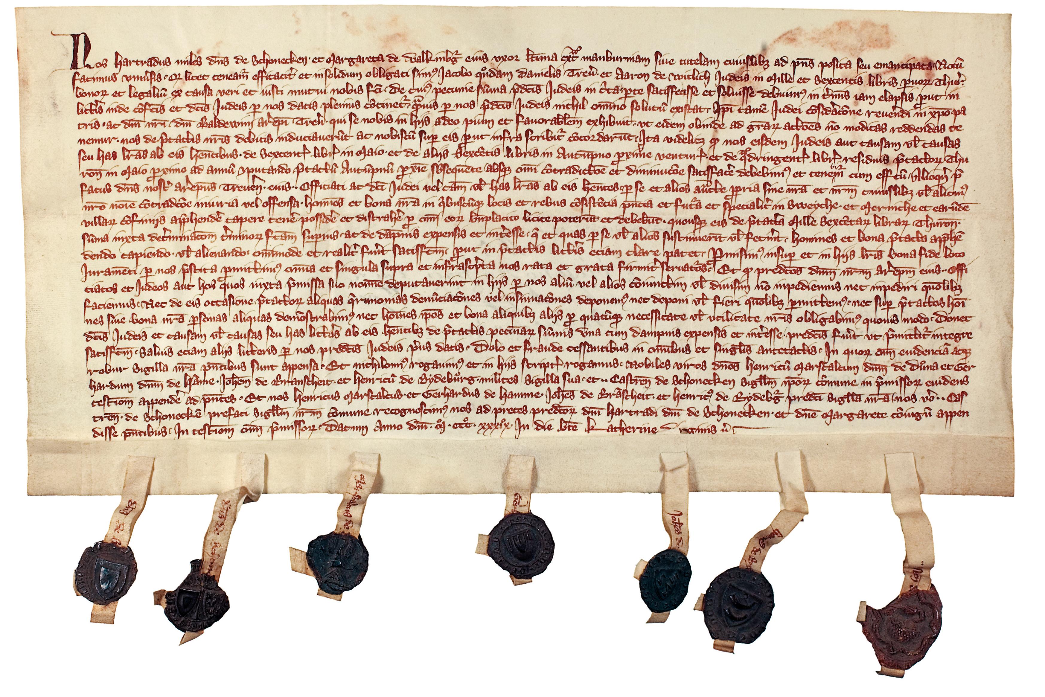 Urkunde vom 25. November 1339, Landeshauptarchiv Koblenz, Bestand 54, Nr. 285.