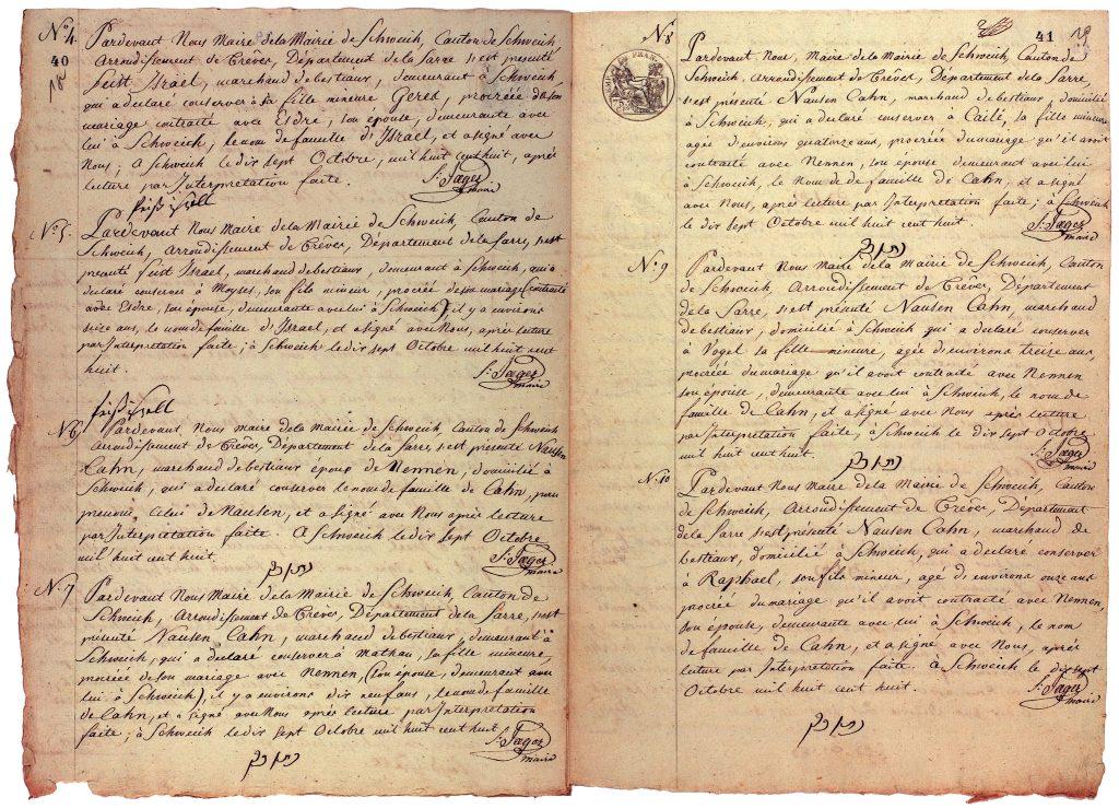 Auflistung der Namensänderungen der Juden in der Mairie Schweich, Landeshauptarchiv Koblenz, Best. 312, Nr. 3, S. 37–49.