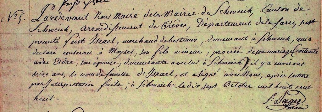 S. 38, Eintrag Nr. 5: Moses Israel, 16 Jahre. Möglicherweise handelt es sich um den am 21. Dezember 1862 bestatteten Moses Israel, auf dessen Grab sein Name in der hebräischen Inschrift mit Mosche ben Or angegeben ist. In der Synagoge führten die Juden also weiterhin ihre alten Namen