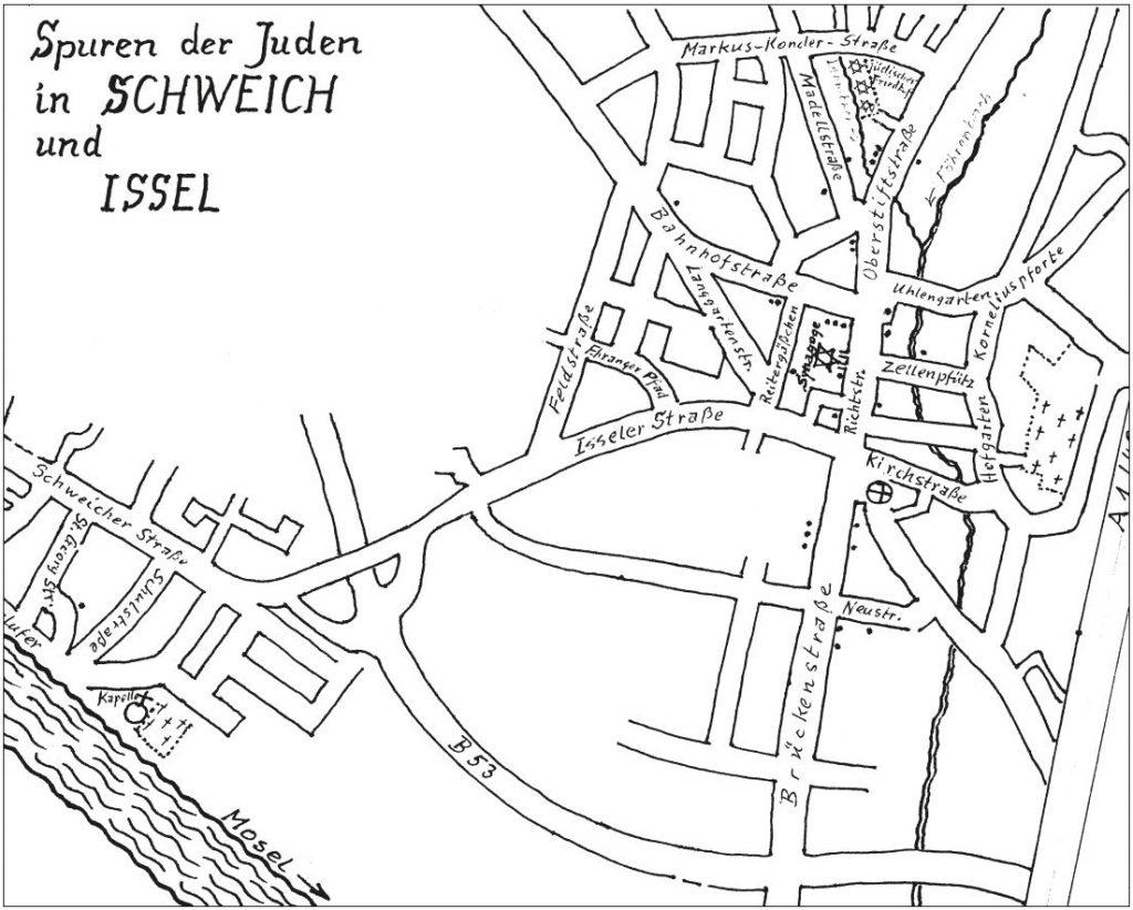 Ortsplan von Schweich mit der Lage der jüdischen Häuser von Georg Wagner, Schweich.